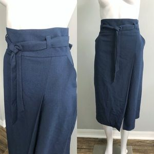 ASOS Paper Bag High Waisted Skirt Navy Tie